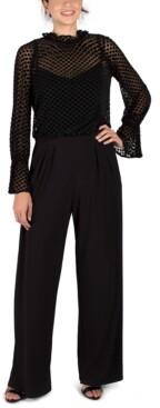 Julia Jordan Flocked Velvet Blouson Jumpsuit