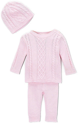 Baby Mode Signature Girls' Casual Pants PINK - Pink Cable-Knit Sweater Set - Newborn & Infant