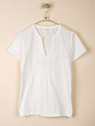 Indi & Cold - White Combined Cotton T Shirt - S