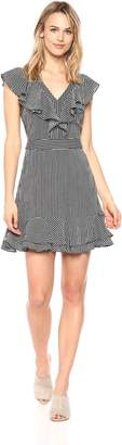 J.o.a. Women's Striped V Neck Double Layer Dress