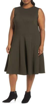 Lafayette 148 New York Topango Punto Milano Fit & Flare Dress (Plus Size)