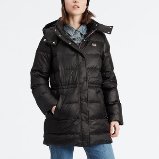 Levi's Long Down Padded Puffer Jacket with Hood and Pockets