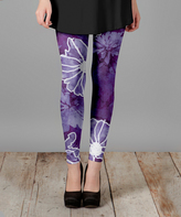 Lily Purple & White Floral Slim-Fit Pants - Plus Too