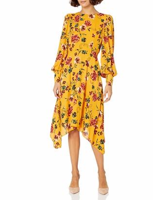 Donna Morgan Women's Petite Long Sleeve Georgette Asymmetrical Hem Dress