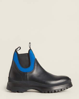 Prada Black & Blue Brixxen Leather Ankle Boots