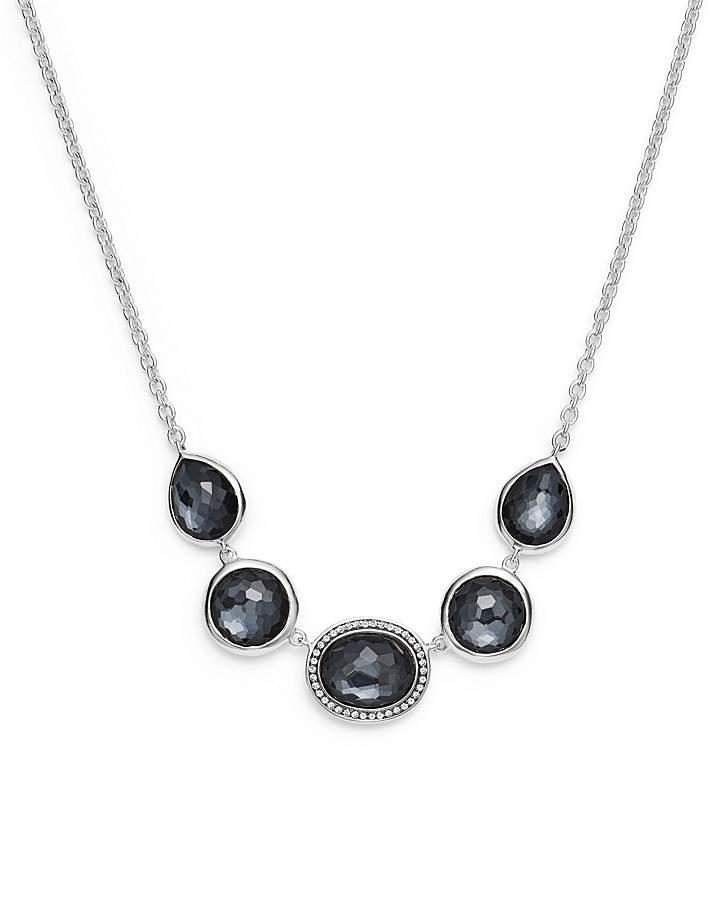 "Ippolita Sterling Silver Lollipop® Necklace in Hematite Doublet with Diamonds, 16"""