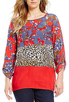Multiples Long Roll-Tab Sleeve Multi Print Hi-Lo Tunic