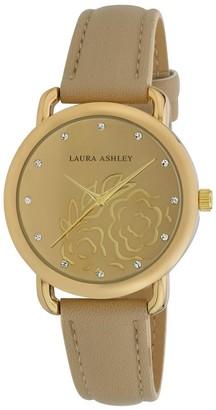 Laura Ashley Womens Gold Floral Mirror Dial Strap Watch - N/A