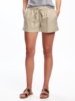 "Old Navy Mid-Rise Cuffed Linen-Blend Shorts for Women (4"")"