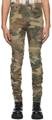 R 13 Green and Brown Camo Skywalker Jeans
