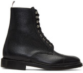 Thom Browne Black Four Bar High Derby Boots