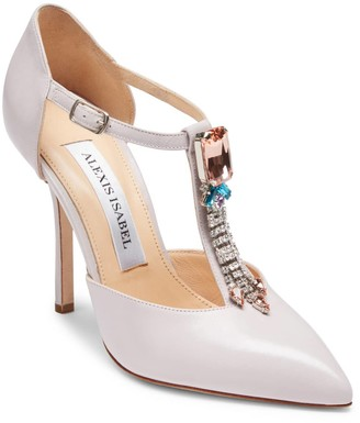 Alexis Isabel Bejeweled Baby Crystal Embellished Lavender Leather Pumps