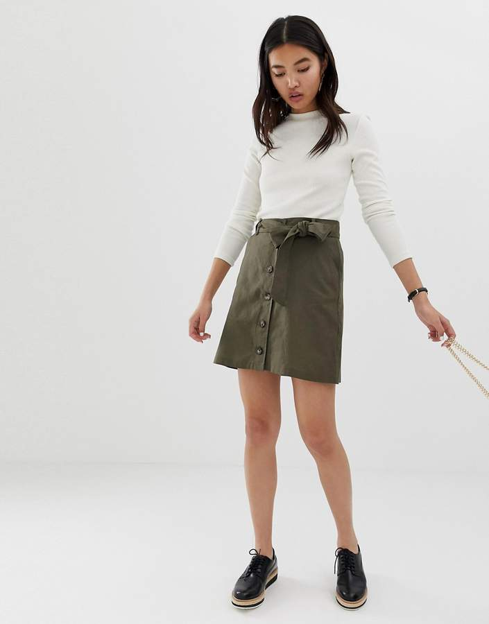 Asos Design DESIGN linen mini skirt with button through detail