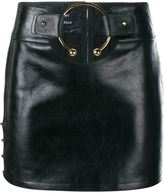 Anthony Vaccarello Leather Mini Skirt with Gold Ring