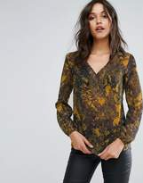 Sisley V Neck Sheer Printed Blouse