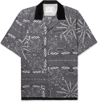 Sacai + Dr. Woo Camp-Collar Velvet-Trimmed Bandana-Print Woven Shirt