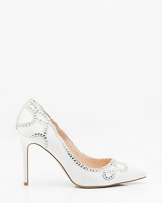 Le Château Jewel Embellished Satin Pointy Toe Pump