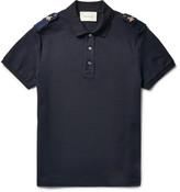 Gucci Slim-Fit Bee-Appliquéd Stretch-Cotton Piqué Polo Shirt