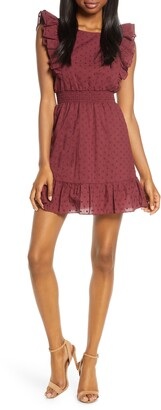 BB Dakota Swiss Dot Ruffle Mini Dress