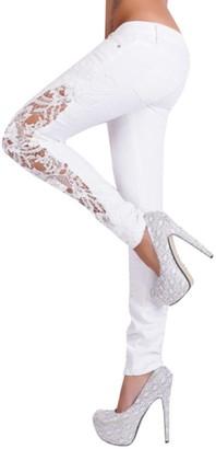 Winkey Women Casual Flower Lace Low Waist Jeans Hollow Out Long Pants Leggings for Women (L