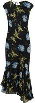 Topshop Evelyn Asymmetric Printed Silk-georgette Midi Dress - Black