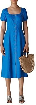 Whistles Remi Linen Button-Front Midi Dress