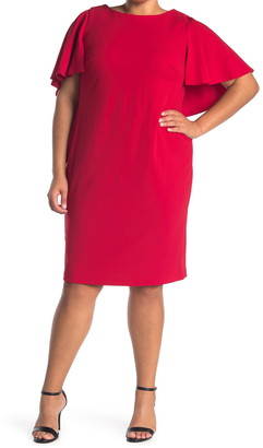 Calvin Klein Capelet Sleeve Sheath Dress