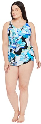 Maxine Of Hollywood Swimwear Plus Size Retro Floral Wide Strap Sarong (Cobalt) Women's Swimsuits One Piece