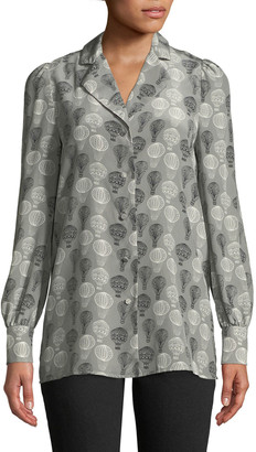 Co Long-Sleeve Button-Front Balloon-Print Tunic Blouse