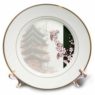 3drose 3dRose A Japanese Pagoda Shrine With The Word Destiny - Porcelain Plate, 8-inch
