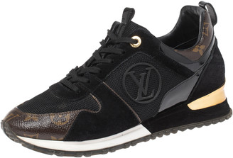 Louis Vuitton Black Monogram Canvas, Leather and Mesh Run Away Lace Up Sneakers Size 39