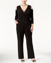 NY Collection Plus Size Cold-Shoulder Wide-Leg Jumpsuit