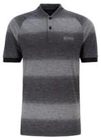 HUGO BOSS - Slim Fit Golf Polo Shirt In Melange Stripes - Black