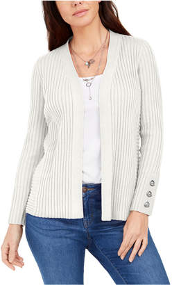 JM Collection Ribbed Button-Sleeve Cardigan
