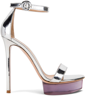 Gianvito Rossi Ankle Strap Platform Heels in Silver | FWRD