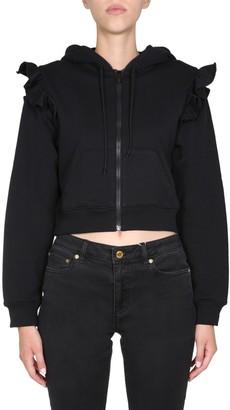 Moschino Ruffle Cropped Hooded Jacket