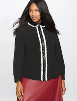 ELOQUII Plus Size Studio Ruffles and Sequins Pleat Front Blouse