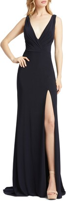 Mac Duggal Cowl Back Surplice Knit Gown