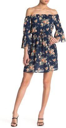 Bailey Blue Off-the-Shoulder Bell Sleeve Floral Mini Dress