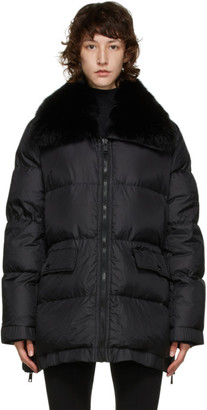 Yves Salomon Army Black Down and Fur Puffer Coat