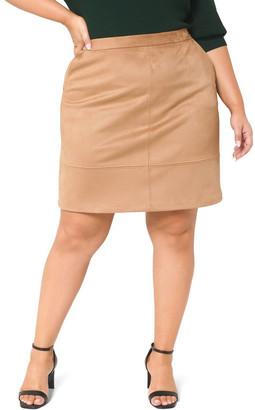 Forever New Curve Mira Suedette Curve Mini Skirt Chestnut