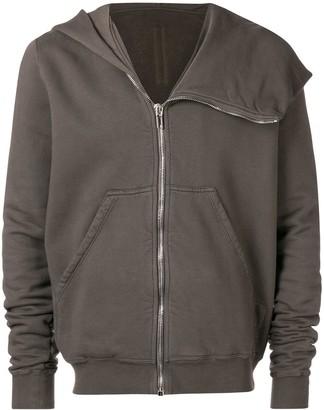Rick Owens asymmetric zip front hoodie