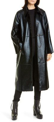 Stand Studio Nino Faux Leather Coat with Faux Fur Lining