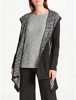 Max Studio Hooded Jersey Cardigan, Black/Ecru