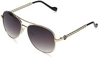 Jessica Simpson Women's J5869 Full Rim Metal Aviator Sunglasses with Chain Temple Detail