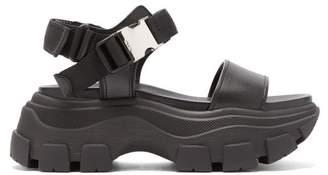 Prada Buckled Leather Platform Sandals - Womens - Black