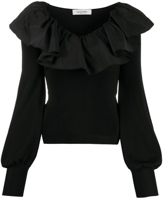 Valentino Ruffled Collar Long-Sleeved Blouse