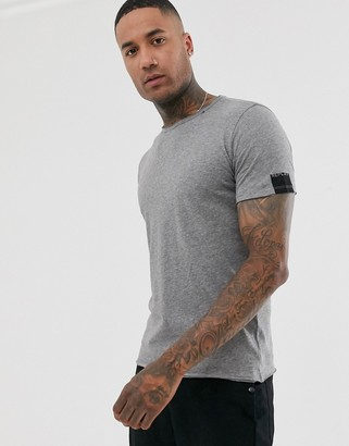 Replay raw hem crew neck t-shirt in grey