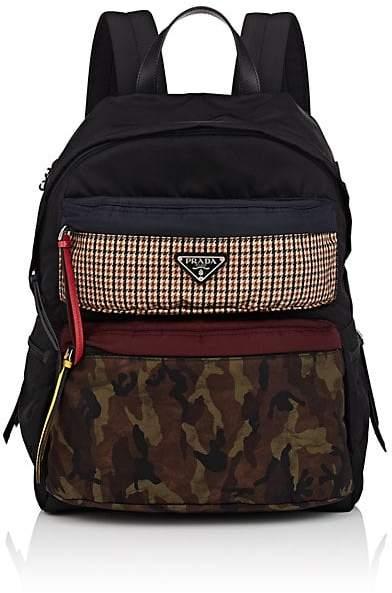Prada Men's Print-Pocket Leather-Trimmed Backpack