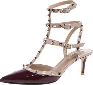 Valentino Burgundy Patent Leather Rockstud Strappy Sandals Size 40